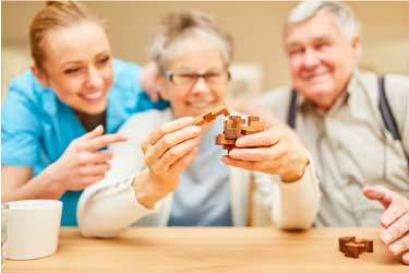 playing games and puzzle solving are common behavioral therapy for alzheimers