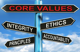 Home Care Core Values road sign